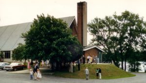 Church at sod turning 1986small