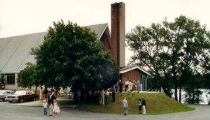 Church at sod turning 1986small